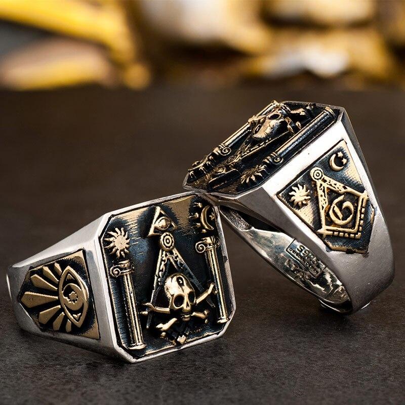Crâne MasonicRing 925 bague en argent pour hommes Omniscient oeil et franc maçon Totem bijoux-in Anneaux from Bijoux et Accessoires    1