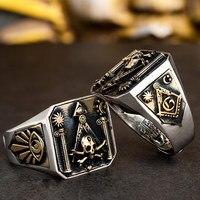 Skull MasonicRing 925 Silver Ring For Men Omniscient eye and freemason Totem Jewelry