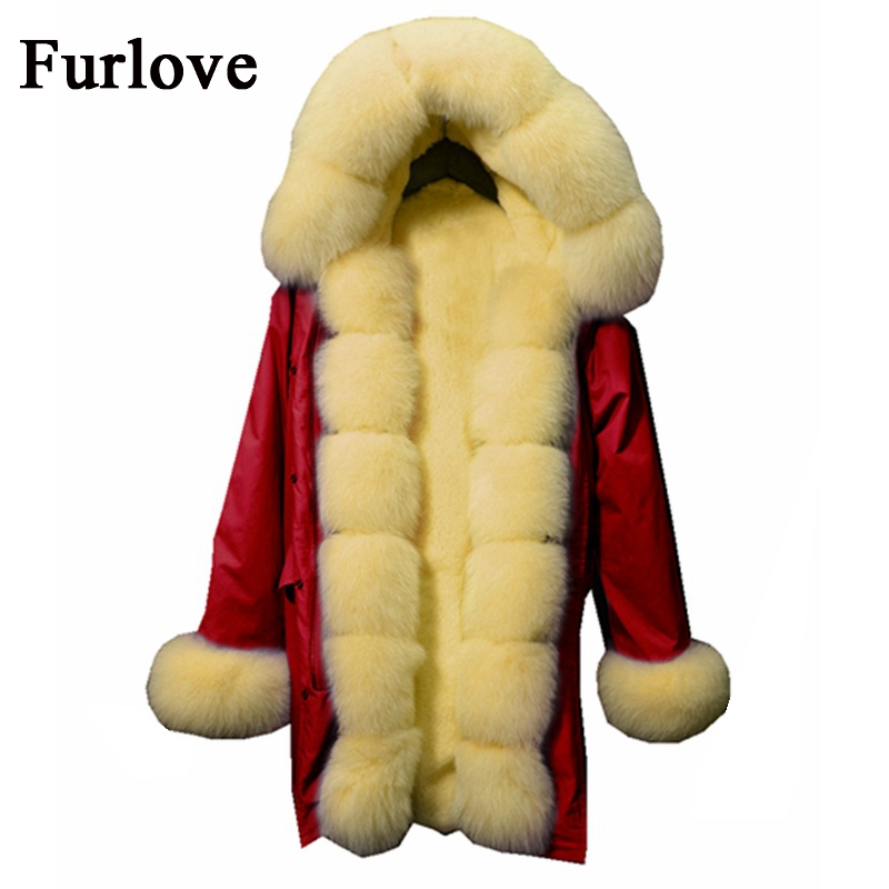 Thick Jackets Long Warm Winter Coat Women Coats Real Fox Fur Collar Hooded Parkas Natural Rabbit Fur Parka Red Fashion Jacket winter coat women womens jackets natural raccoon fur collar hooded jacket real fox fur parka thick coats casual long warm parkas