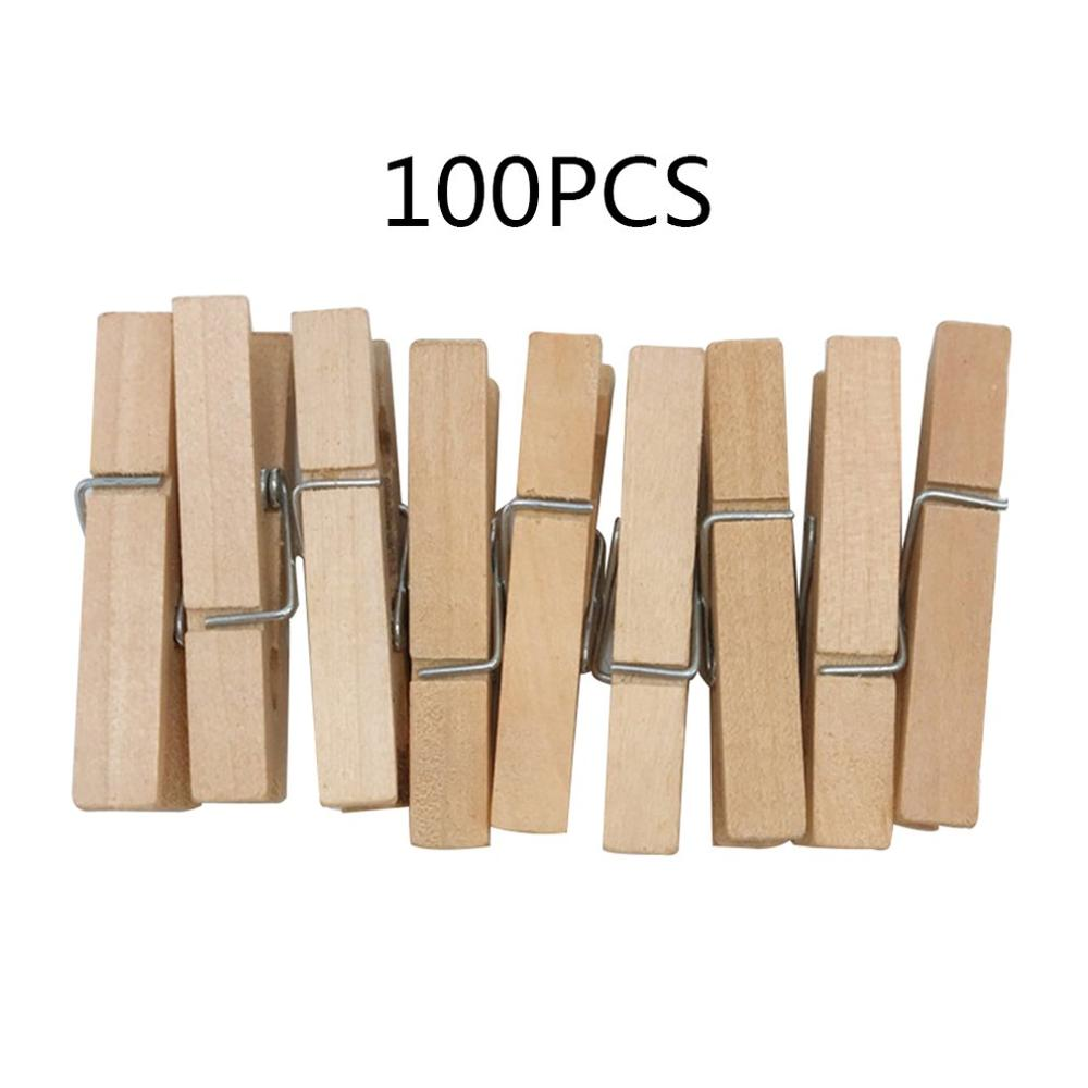 Natural Wood Clips Wood Color Clips Photo Clips DIY Accessories Square Blackboard Small Wooden Clamp Daily Supplies 3.0*0.4cm