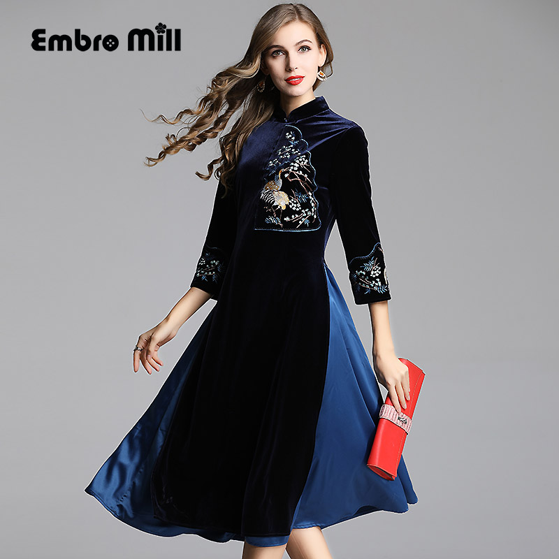 Chinese traditional clothing women blue velvet dress winter vintage embroidery lady party dress M-XXL