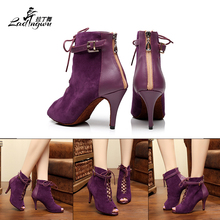 Autumn and Winter Models Dance Shoes Samba Latin Dance Shoes Salsa Dance Ballroom Shoes Purple/Black Fish mouth type Boots