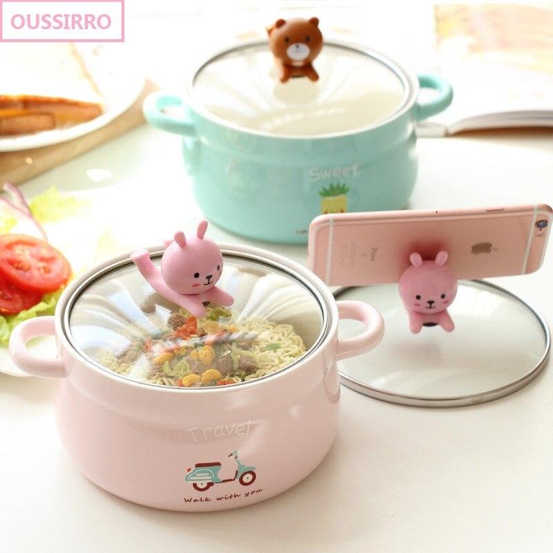 OUSSIRRO Bande Dessinée créative nouilles instantanées bol avec couvercle en céramique bol mignon étudiant travail bol bol de soupe
