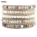 2017 JackTu labradorite facted beads beige leather wrap women bracelet