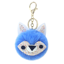 New animal fox fur ball key chain pendant artificial plush pendant lady bag car key accessories lovely small gifts.
