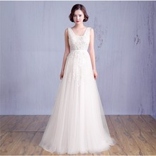 Vestido De Noiva Cheap Beach Wedding Dresses 2017 Boho Wedding Dress V-neck Backless Tulle Long Bridal Gowns Robe De Mariage