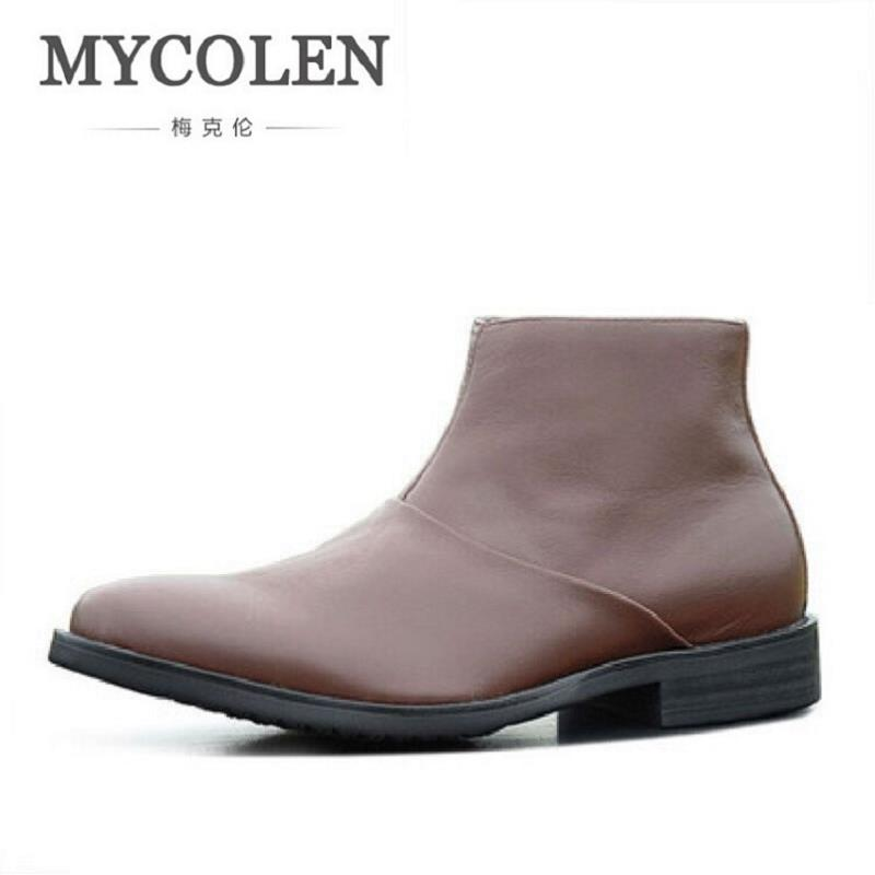 MYCOLEN Men High Quality Cow Split Leather Ankle Boots Male Winter Leisure Fashion Party Retro Motorcycle Mens Shoes z suo men s boots and the quality of the boots leather fashion tooling male leisure fashion season man boots zs608