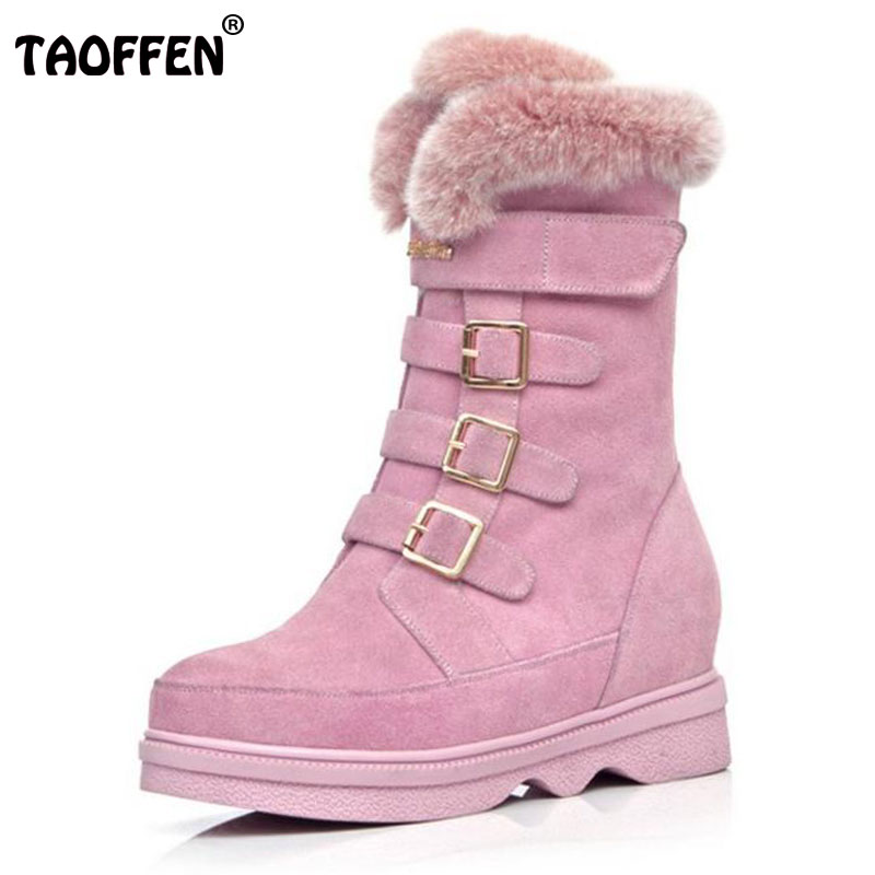 TAOFFEN Snow Boots Women Half Knee Boot Real Genuine Leather New Keep Warm Fur Round Toe Shoes Woman Flats Shoes Size 34-39 doratasia big size 34 43 women half knee high boots vintage flat heels warm winter fur shoes round toe platform snow boots
