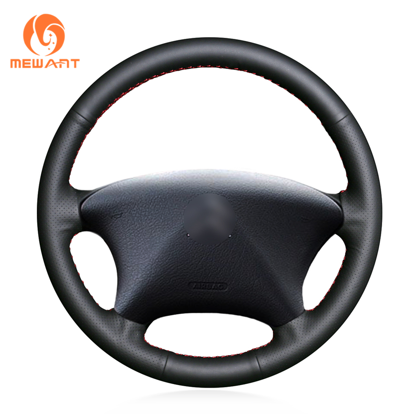 MEWANT Black Genuine Leather Car Steering Wheel Cover for Citroen Xsara Picasso 2001-2004 shining wheat hand stitched black leather steering wheel cover for citroen elysee c elysee citroen xsara picasso
