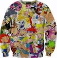 Mulheres homens 3D Cartoon Network Rugrats superpoderosas camisola 90's camisolas Pokemon suor Hey Arnold Crewneck Tops roupa de