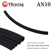 VR RACING - 10 AN Pro's Lite Black Nylon Racing Hose Fuel Oil Line 350 PSI ONE FEET 0.3M VR7314-1