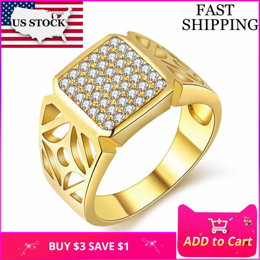 US STOCK Bague Homme Large Gold Color Ring for Men Jewelry Wedding Costume jewelery Rings Bijoux Anillos Hombre Uloveido JX004