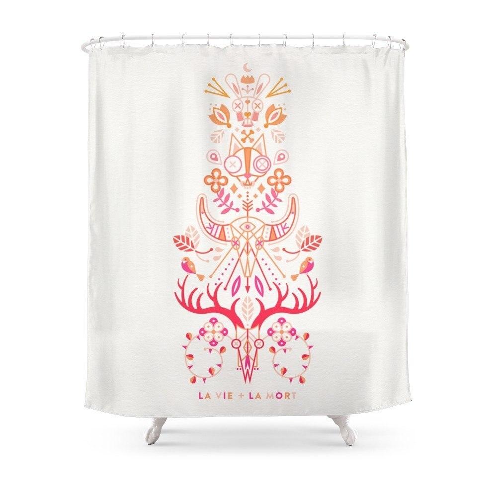 Acheter maintenant! La Vie La Mort Pink & Orange Ombre Shower Curtain Set