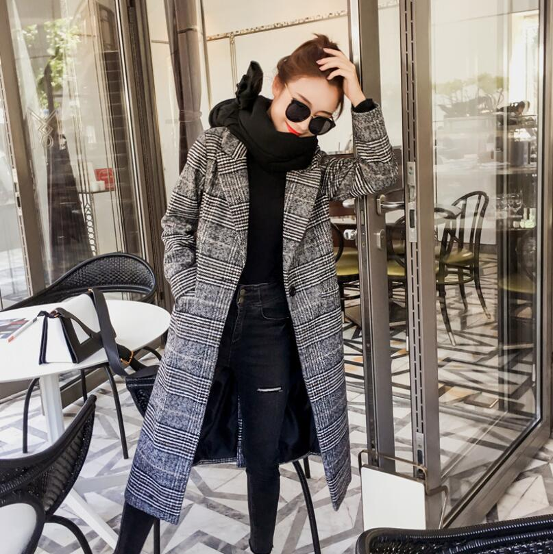 Automne femmes manteau en laine Plaid femmes slim Long col rabattu vêtements d'extérieur hiver femme décontracté coréen pardessus w170