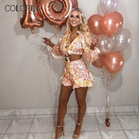 COLOREE Bohemian Women Two Piece OF Sets 2019 Summer Sexy Floral Printed Ruffles Tops and Loose Shorts Vacation Beach Sets
