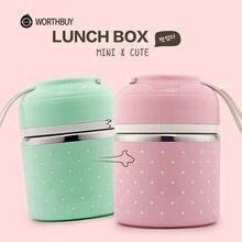 WORTHBUY милый японский термальный Ланч-бокс герметичный из нержавеющей стали Bento box детский портативный контейнер для еды для пикника и школы