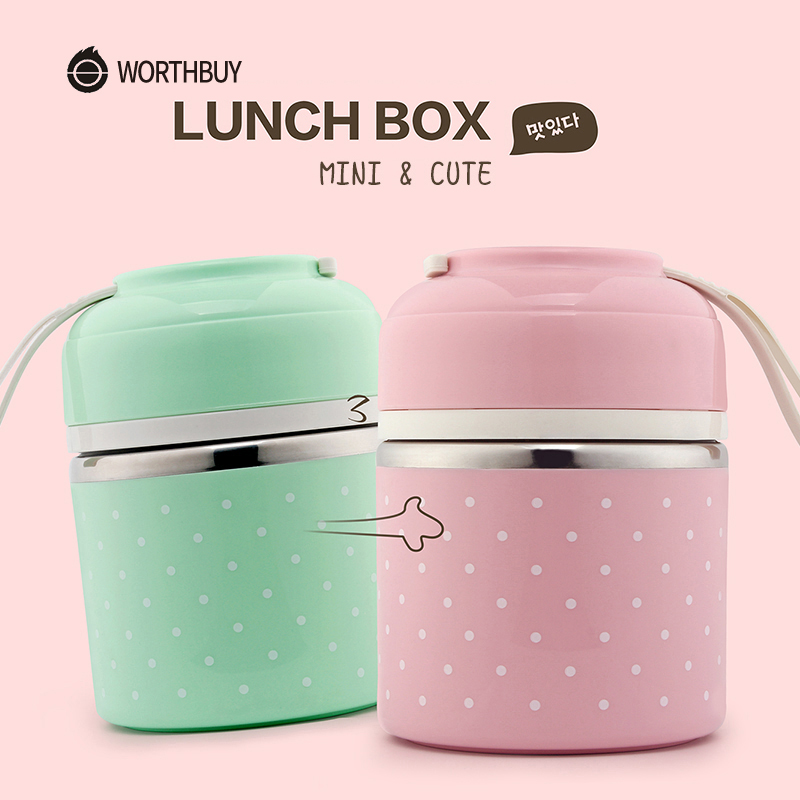 WORTHBUY Söt japansk Thermal Lunch Box Läckageprovet Rostfritt Stål Bento Box Barn Bärbara Picnic Skola Matcontainerskrin