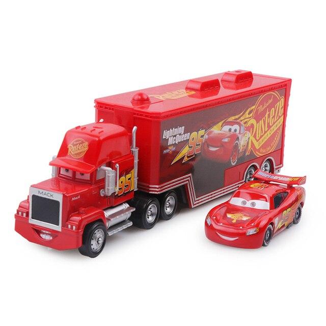 Disney Pixar Cars 3 No.95 Lightning McQueen Mack Uncle Truck Cargo 1:55 Diecast Alloy Car Model Birthday Gift Boy Kid Children