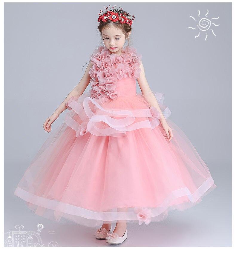 100% réel enfants fille rose clair 3d fleurs robe de bal robe lolita robe pegeant/fleur fille