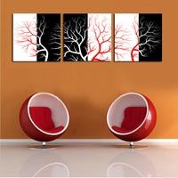 Luxry 프레임이없는 3 패널 싼 추상 현대 레드 화이트 나무 벽 그림 홈 장식 예술 사진 페인트 인쇄