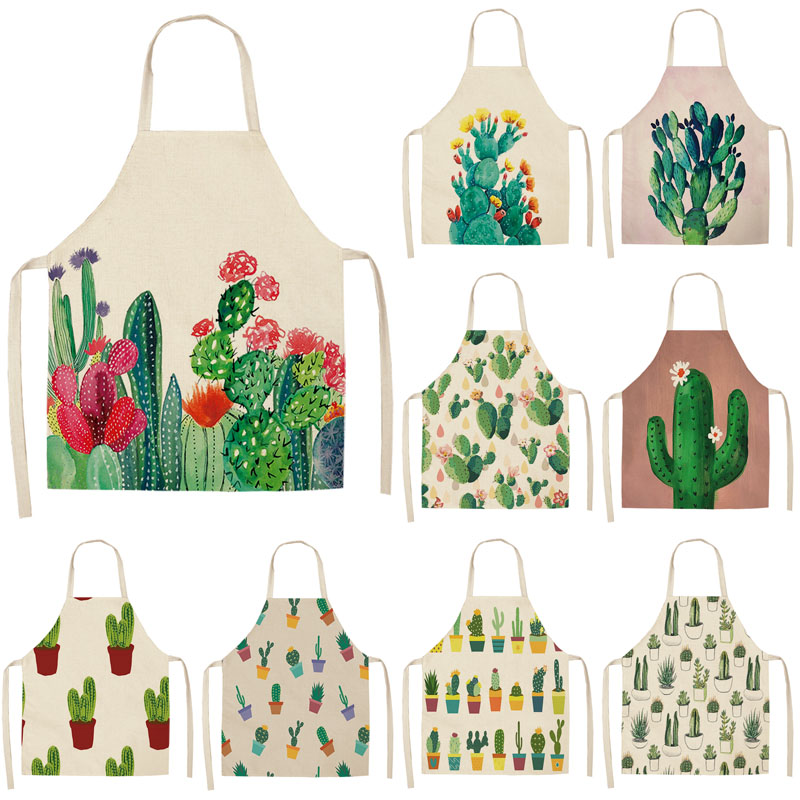 1Pcs Cactus Pattern Kitchen Apron for Woman Sleeveless Cotton Linen Aprons Home Cooking Baking Bibs Cleaning Tools 53*65cm P1013-in Aprons from Home & Garden