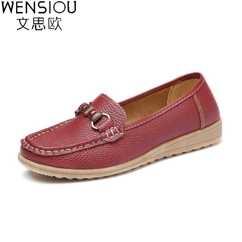 New Women Flats Leather Shoes Moccasins Mother Loafers Soft Leisure Female Flats Driving Women shoes Casual Footwear DT955