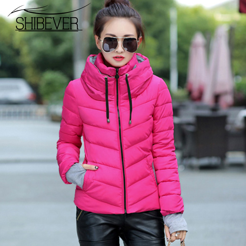SHIBEVER Warm Winter Women   Parkas   Fashion Short Ladies Casual Jacket Women Winter Coat Female Outwear Ladies Clothing AJT307