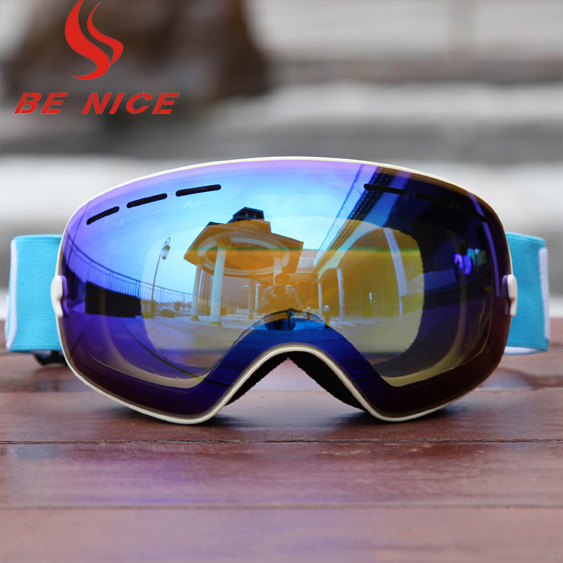 Benice 3100 adult outdoor snow spectacles SKI GOGGLES ANTI FOG atomization and UV400 breathable soft super vision.