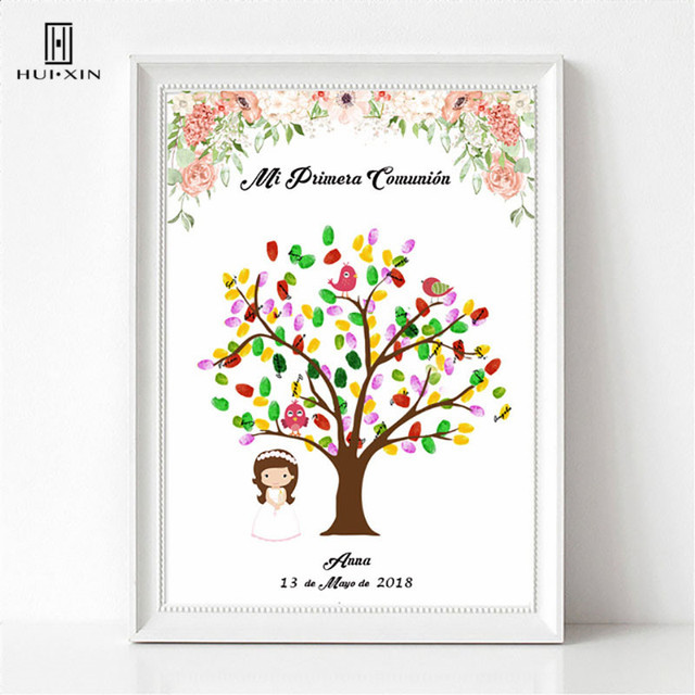 טביעת אצבע Gestbook של יפה ילדה עומד תחת Creative עץ משלוח שם תאריך ראשון ילד קודש הקודש מזכרות דקור