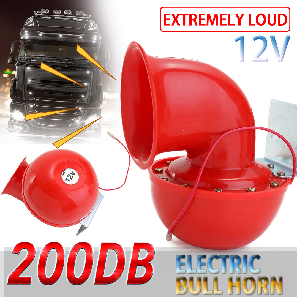 Loud 200DB 12V Red Electric Bull Horn Air Horn Raging Sound For Car Motorcycle Truck Boat Accessories