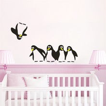 Cute DIY Penguin Avatar Removable Wall Stickers Decal Family Decorations Sticker Mural Art Home Decor 44*16cm Poster Wallpaper(China)