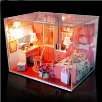 Doll House Diy Dollhouse wooden Miniature Handmade Miniaturas Casa De Boneca For Home Decoration pink dream