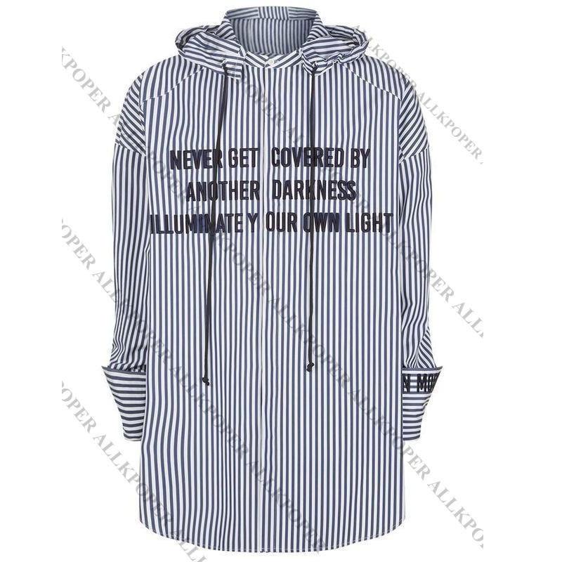 ALLKPOPER KPOP  JIMIN Striped Shirt Bangtan Boys Wings Fansigning Embroidery Blouse
