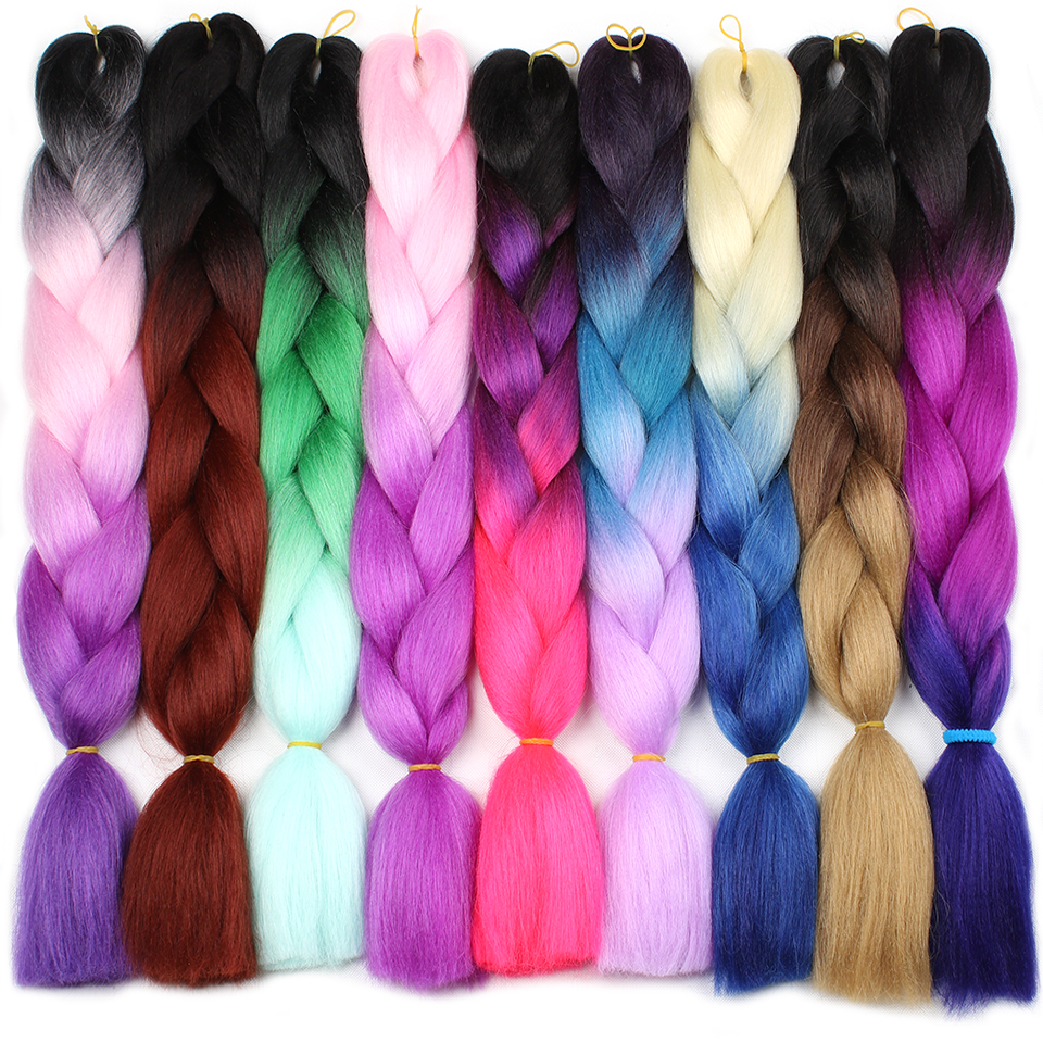 Leeven 24'' Jumbo Braids hair Synthetic Kanekalon Ombre Braiding Hair Extension 1piece/lot crochet Expression Fiber Blue Pink