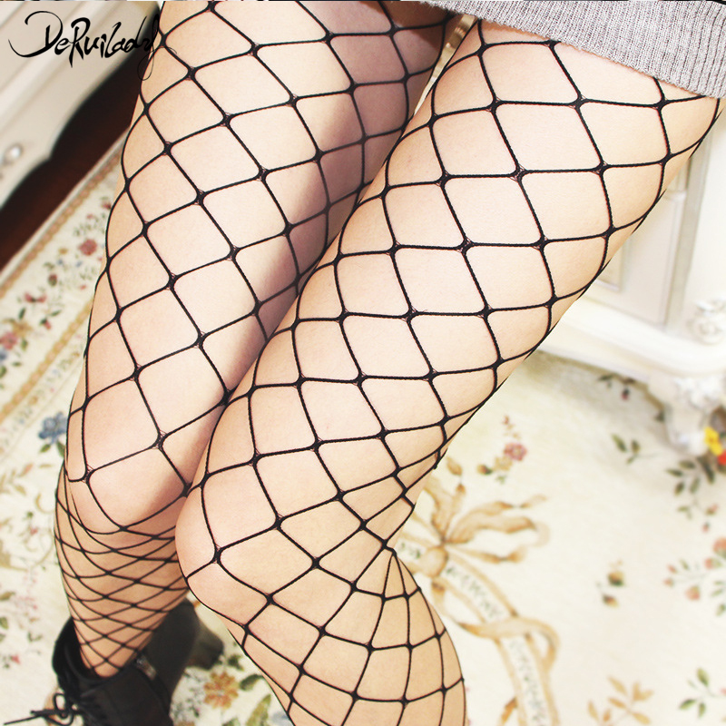 DeRuiLaDy Fashion Black Net Grid Women High Waist Net Pantyhose Fishnet Stocking Fishnet Club Party Tights Pantyhose