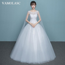 VAMOLASC Illusion Beading O Neck Lace Appliques Ball Gown Wedding Dresses Crystal Tank Backless Bridal Gowns