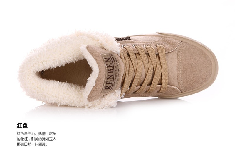 New Women Winter Faux Suede Leather Warm Plush Ankle Boots Autumn Women Shoes Fur Snow Boots Comfortable Running Shoes Sneakers 48