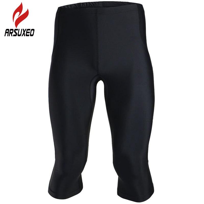 Prix pour Arsuxeo vélo pantalon 2017 hommes vélo à séchage rapide respirant sport 3/4 leggings de course pantalon de compression pantalon collants de jogging 73