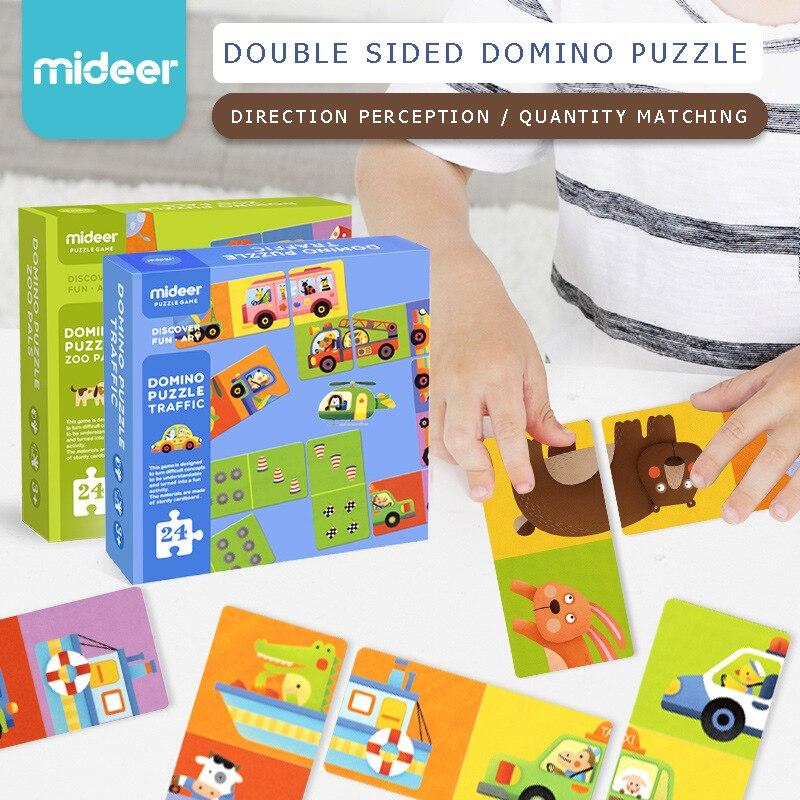 Mideer enfants double face domino puzzle trafic zoo Bébé Animal Solitaire Jeu de Puzzle Cognitive D'apprentissage Puzzle Jouet 3 ans +