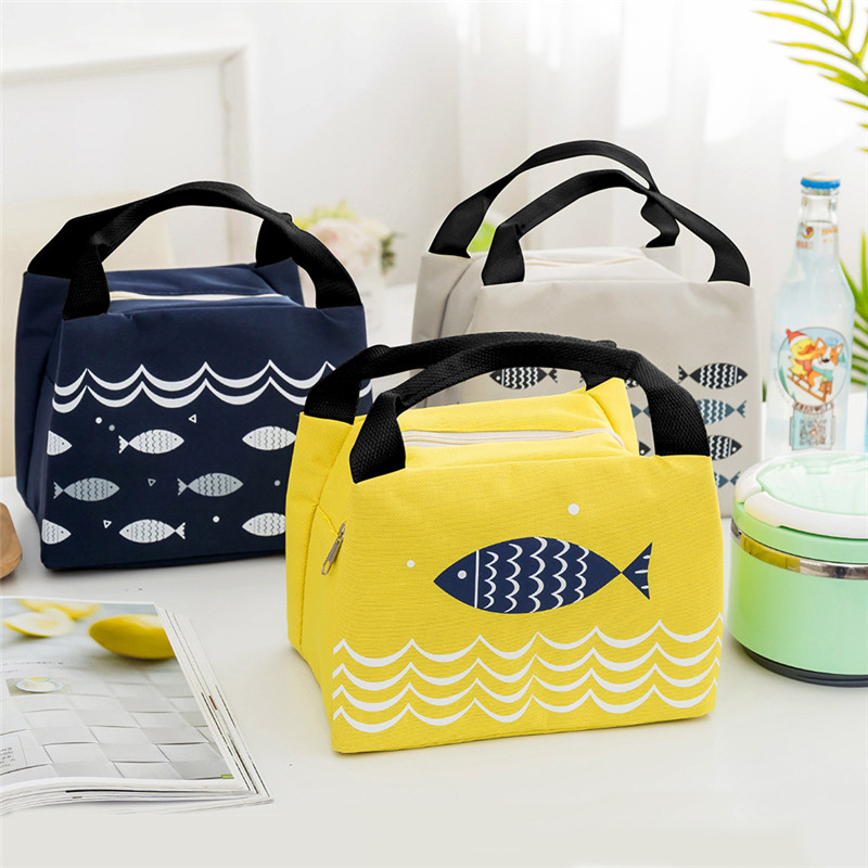 Cute Fish Canvas Waterproof Lunch Bag Women Girls Student Lunch Box Thermo Bag Office School Picnic Cooler Bag Lancheira Termica