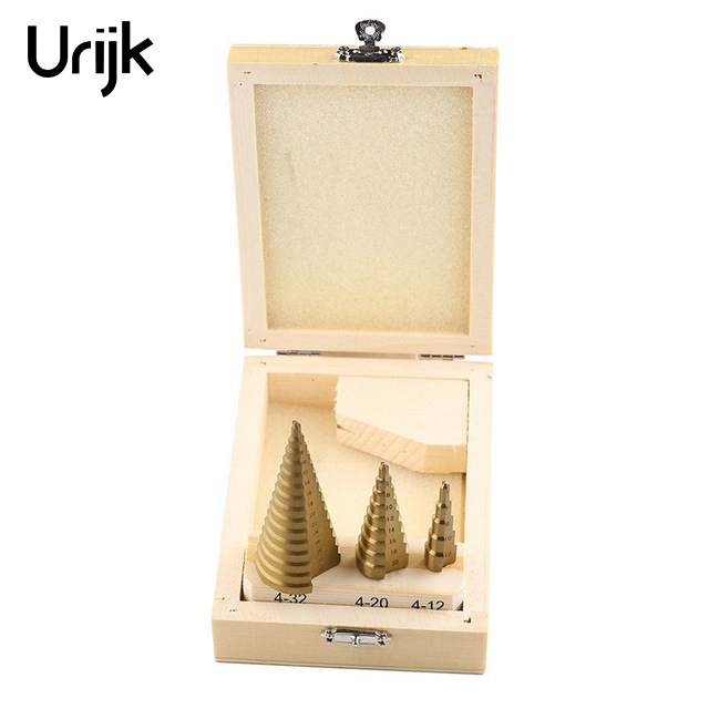 Urijk 3Pcs Step Cone Drill Bit Set Profeesional HSS Steel Titanium Coated Metal Drill Hole Cutter Tool Wooden Box Package 4-32mm кофточка quelle laura scott 471469