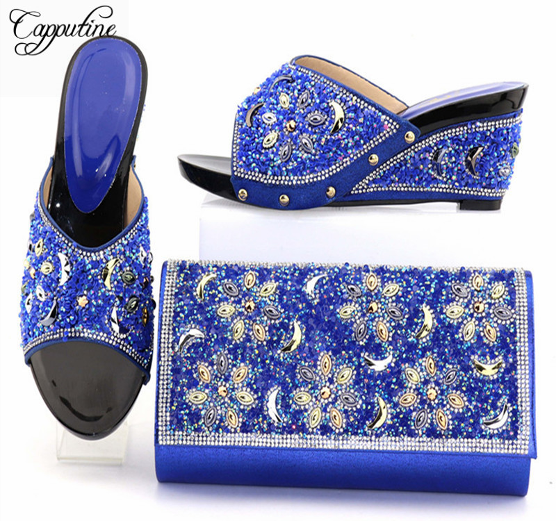 Capputine New Arrival Rhinestone Ladies Shoes And Bag Set Italian Style High Heels Shoes And Bag Set For Party Free Shipping capputine new fashion shoes and bag set for party usage new italian high heels ladies teal color shoes and bag set bch 40