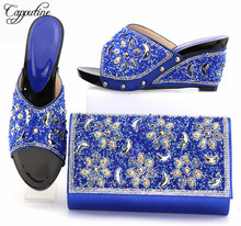 Capputine New Arrival Rhinestone Ladies Shoes And Bag Set Italian Style High Heels Shoes And Bag