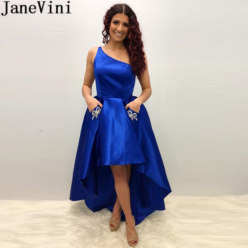 JaneVini High Low Royal Blue   Prom     Dress   2019 One Shoulder Short Front Long Back Plus Size Beaded Evening Party Gown With Pockets
