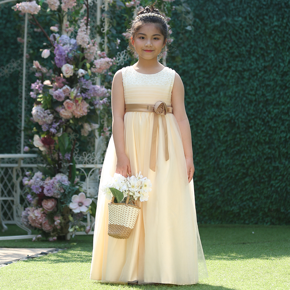 2df20366f3abd Cutestyles Big Girl Party Dresses Flower Belt Wedding Guest Ankle Length  Dress Kid Beaded Shoulder Homecoming Dresses GD81204 13-in Dresses from ...
