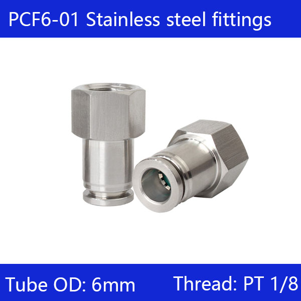 10 pcs/lot 6mm to 1/8 PCF6-01,304 Stainless Steel Straight Female Connector10 pcs/lot 6mm to 1/8 PCF6-01,304 Stainless Steel Straight Female Connector