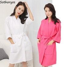 Женские халаты, хлопковый Повседневный халат с поясом, элегантный халат для ванной, спа, однотонное кимоно, повседневная женская одежда для сна, дышащий Халат