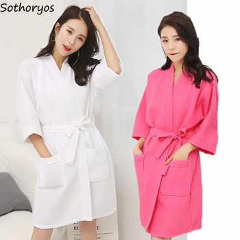 Robes Women Cotton Casual Bathrobe Belt Elegant Bathroom Spa Robe Solid Kimono Daily Ladies Sleepwear Breathable Dressing Gown - DISCOUNT ITEM  5% OFF All Category