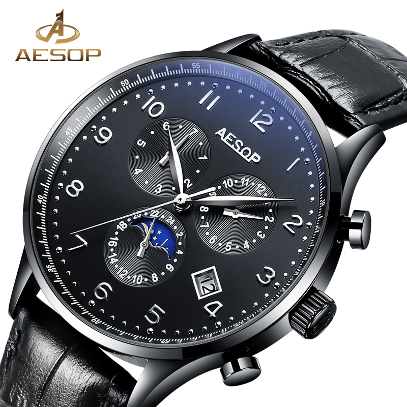 AESOP Watch Men Sapphire Crystal Automatic Mechanical Leather Strap Wrist Wristwatch Male Clock Relogio Masculino Hodinky Box 27 aesop business watch men automatic mechanical wristwatch brand male clock steel strap waterproof shockproof relogio masculino 27