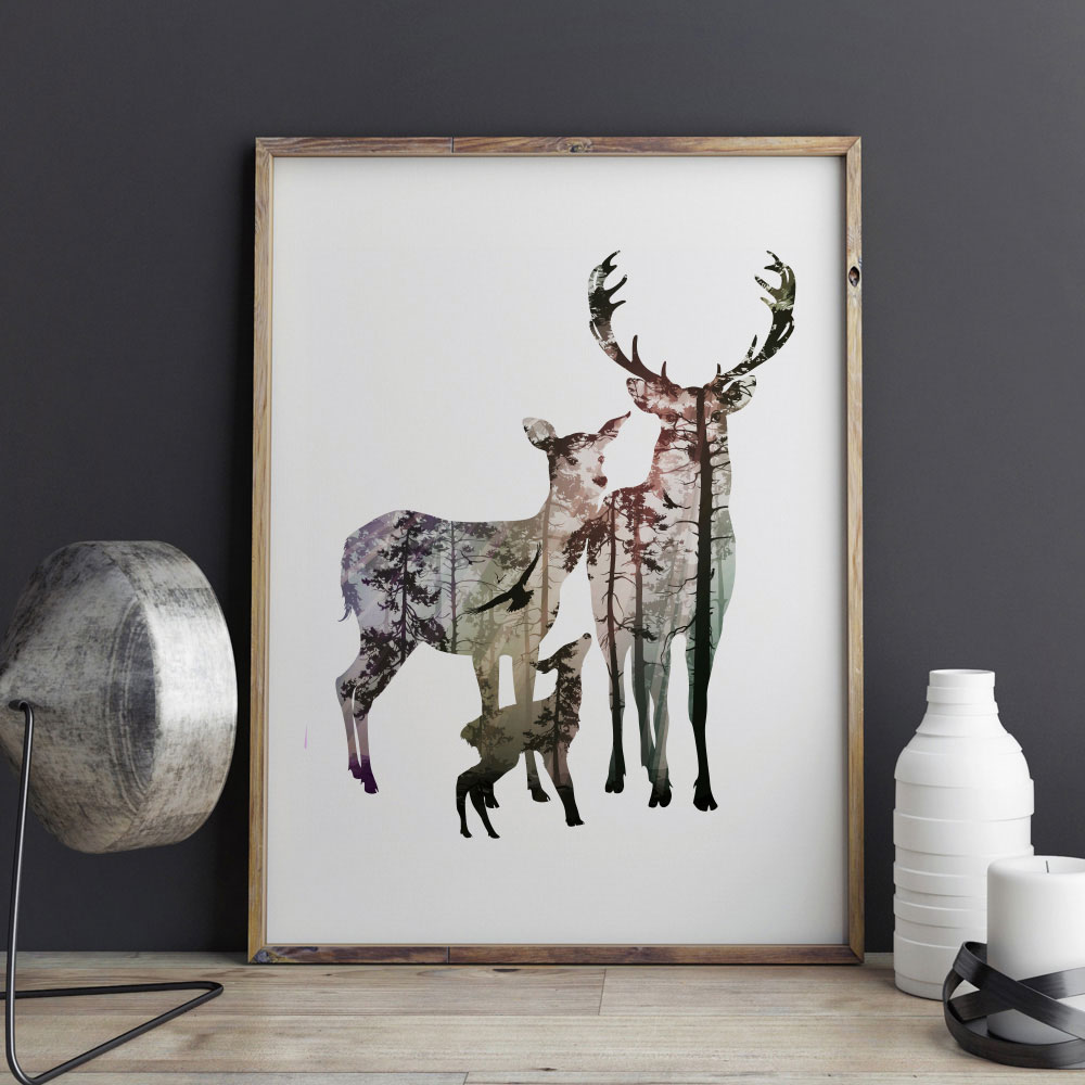 Silhouette of deer family with pine forest fine art paper Interiors by design canvas art